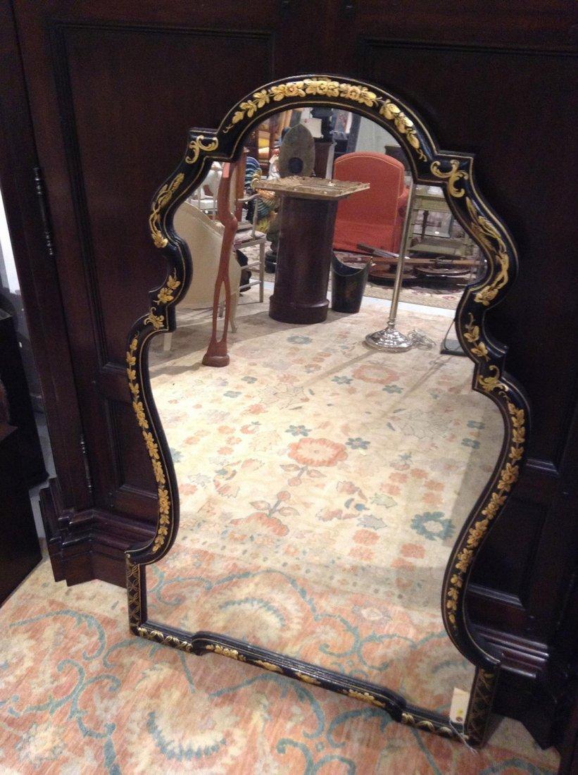 Queen Anne style black japanned mirror