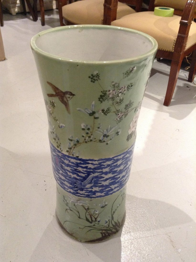 Japanese celadon porcelain umbrella stand