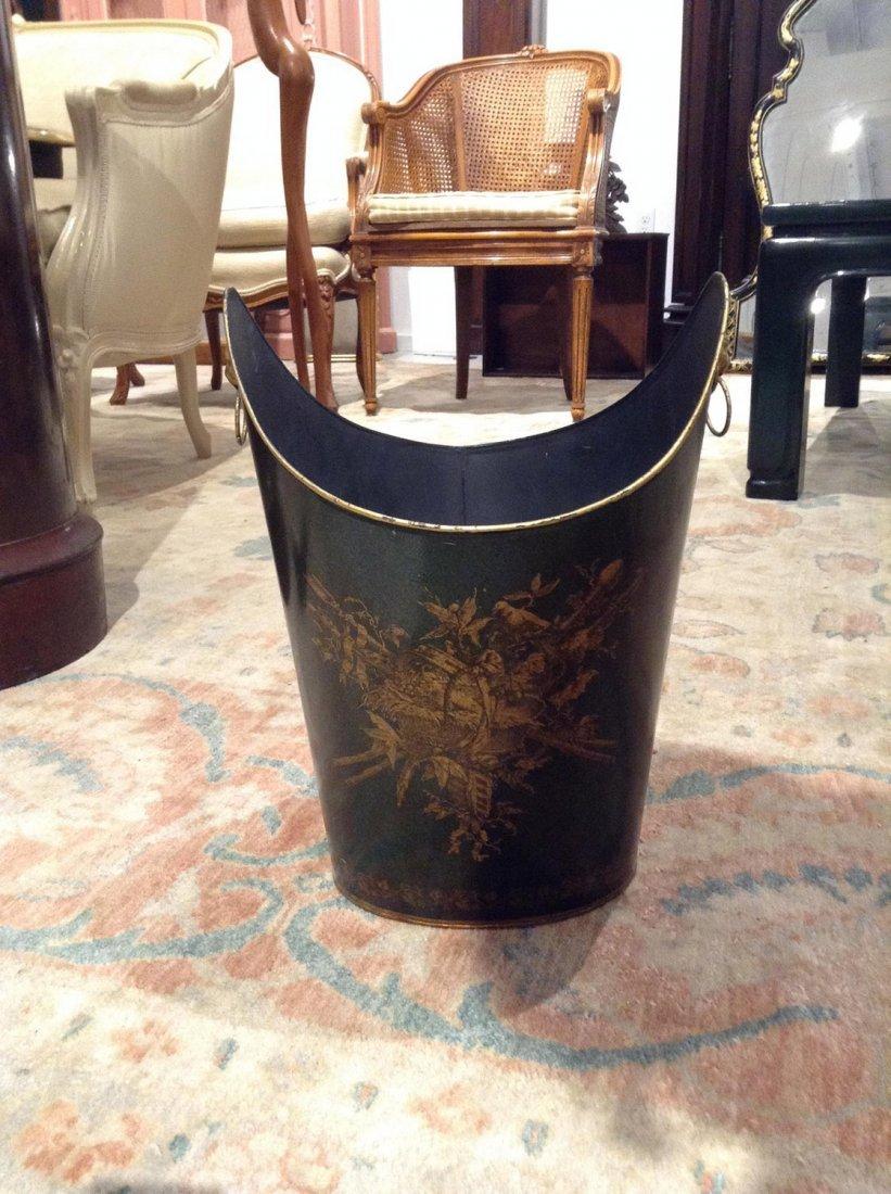 Regency style green tole waste bin