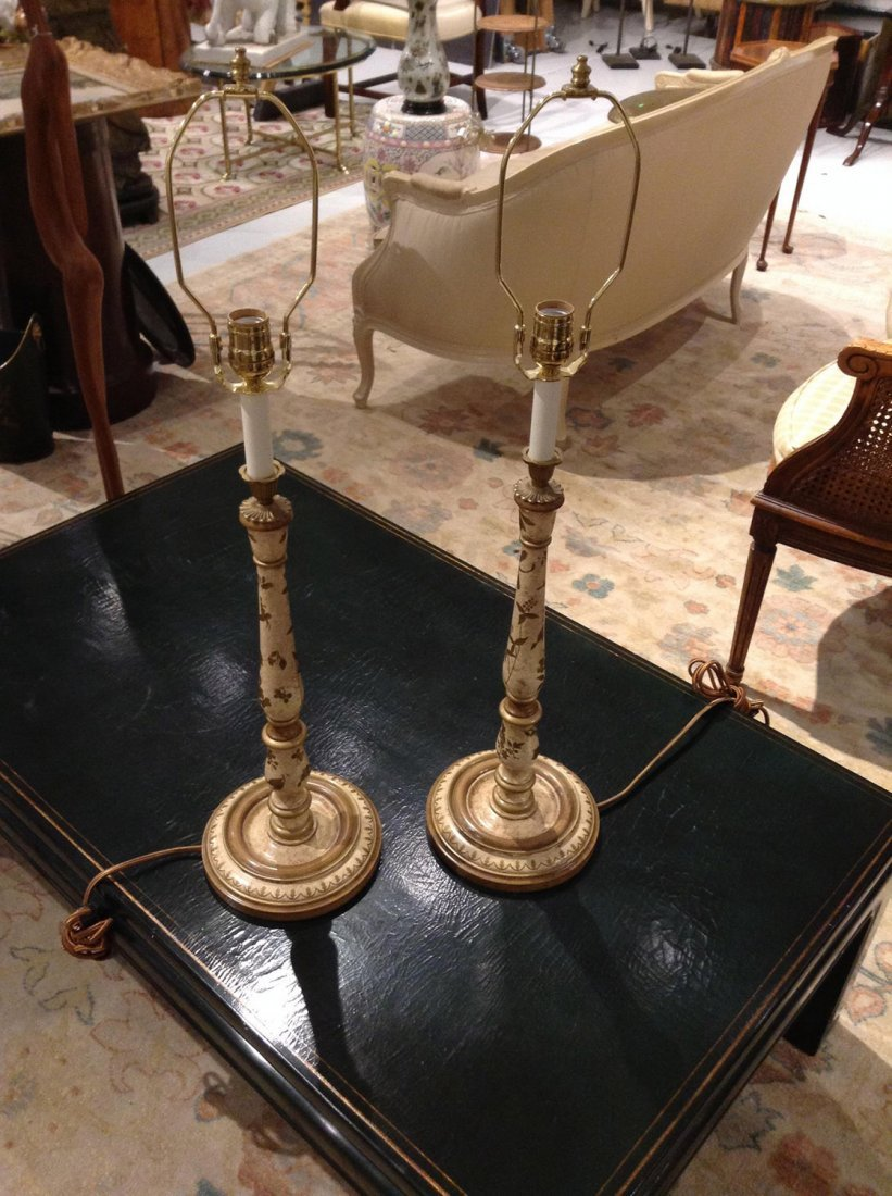 Pair paint decorated stick lamps