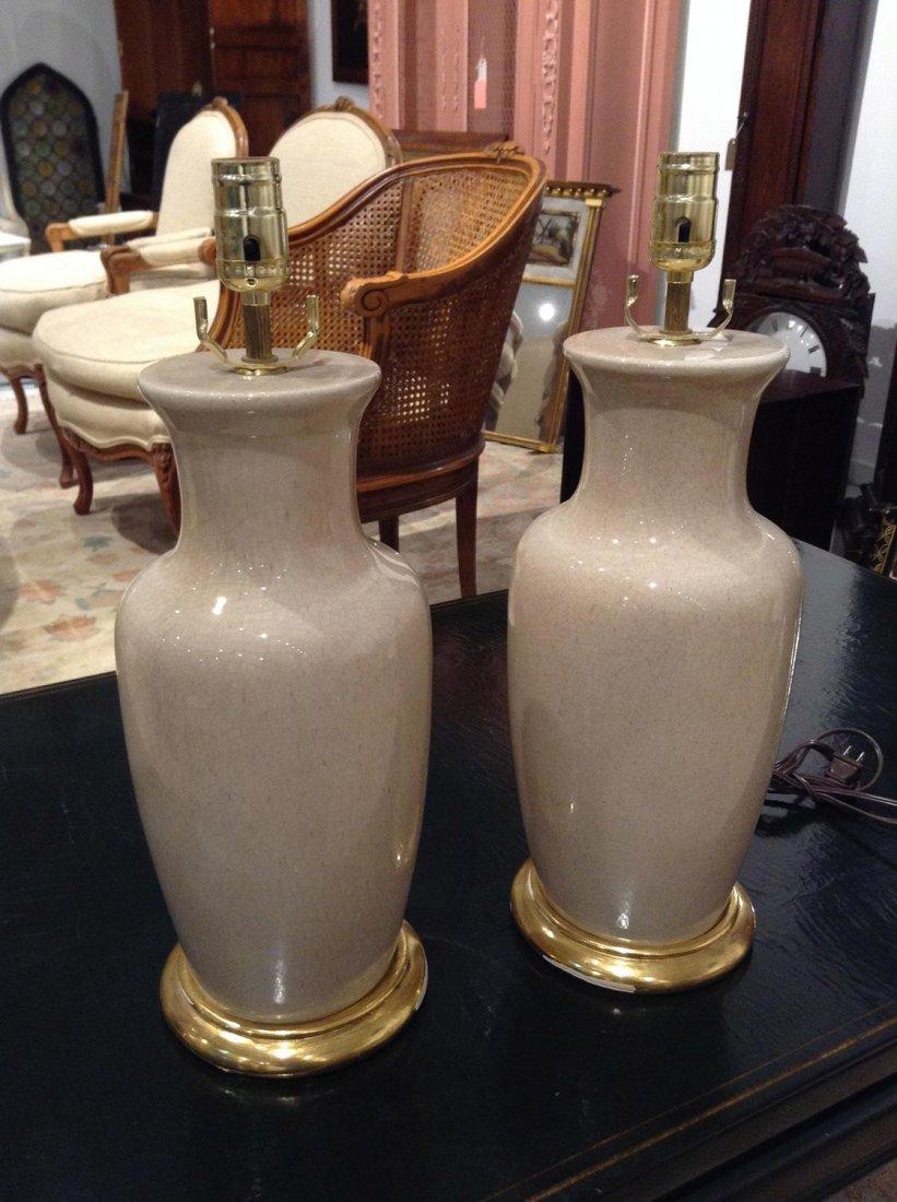 Pair crackleware porcelain table lamps