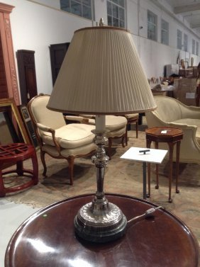 English Silver Plated, Marble Candlestick Lamp