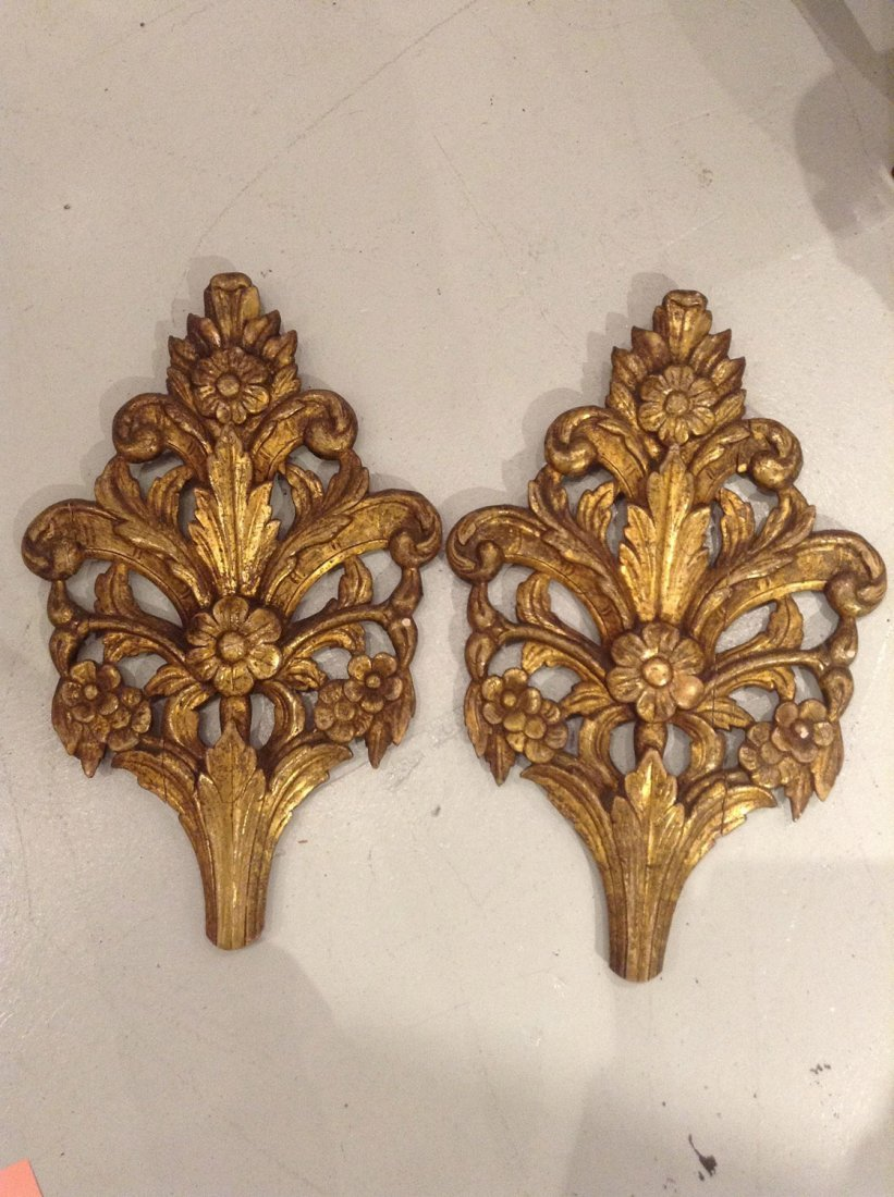 Pair antique giltwood wall appliques