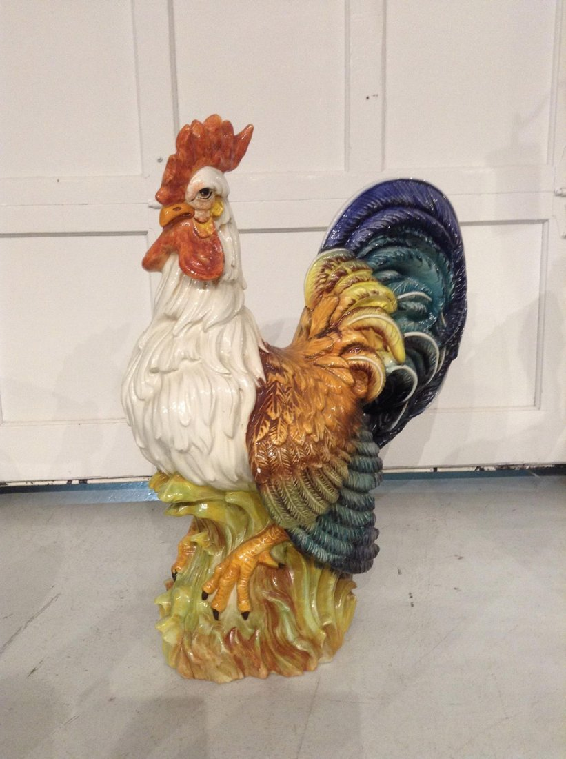 Large French glazed pottery rooster