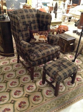 Ralph Lauren Style Wing Chair And Ottoman