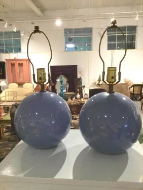 Pair Modernist Pale Blue Glazed Orb Lamps
