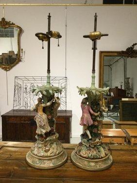 Pair Antique Meissen Porcelain Table Lamps