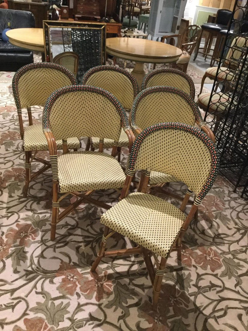 Set (6) Maison Drucker rattan cafe chairs