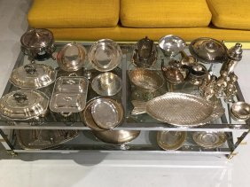 Large Group Silver Plated Tableware