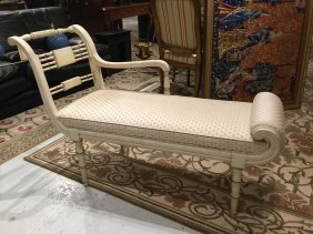 Regency Style White Painted Bench