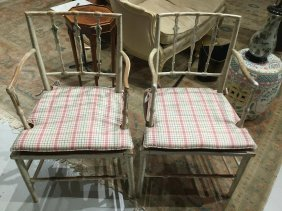 Pair American Painted Arrow Back Armchairs