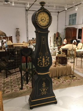 French Black Lacquer Tall Case Clock