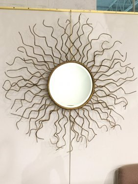 Large Decorator Gilt Metal Sunburst Mirror