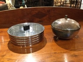 Art Deco Candy Box And Bowl With Glass Insert