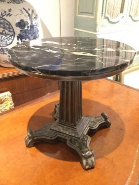 Continental Miniature Lacquer Marble Top Table