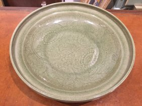 Chinese Longquan Style Carved Celadon Dish