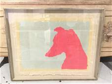 Color screen print on Japan paper dog head