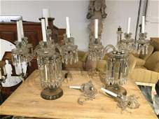 Nice pair large antique cut crystal candelabra
