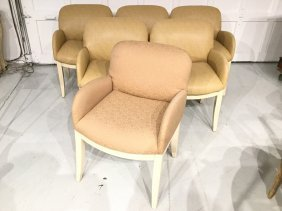 Set (6) Contemporary Beige Lacquered Armchairs