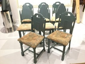 Set (8) Art Deco Painted Dining Chairs