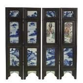 Chinese porcelain, hardwood 4-panel table screen