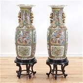 Huge pair antique Chinese rose medallion vases