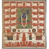 Indian Mewar Rajasthan School large painting