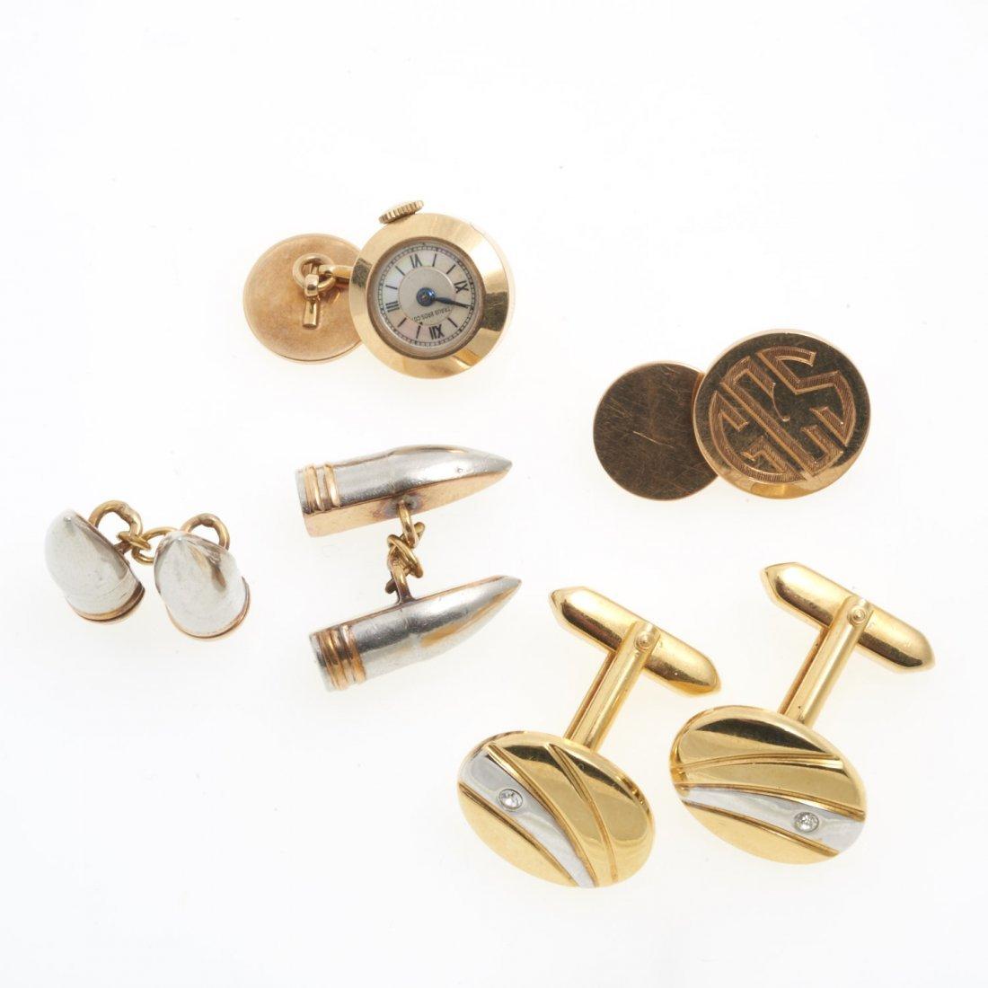 Group gentleman's 14k and gold metal cufflinks
