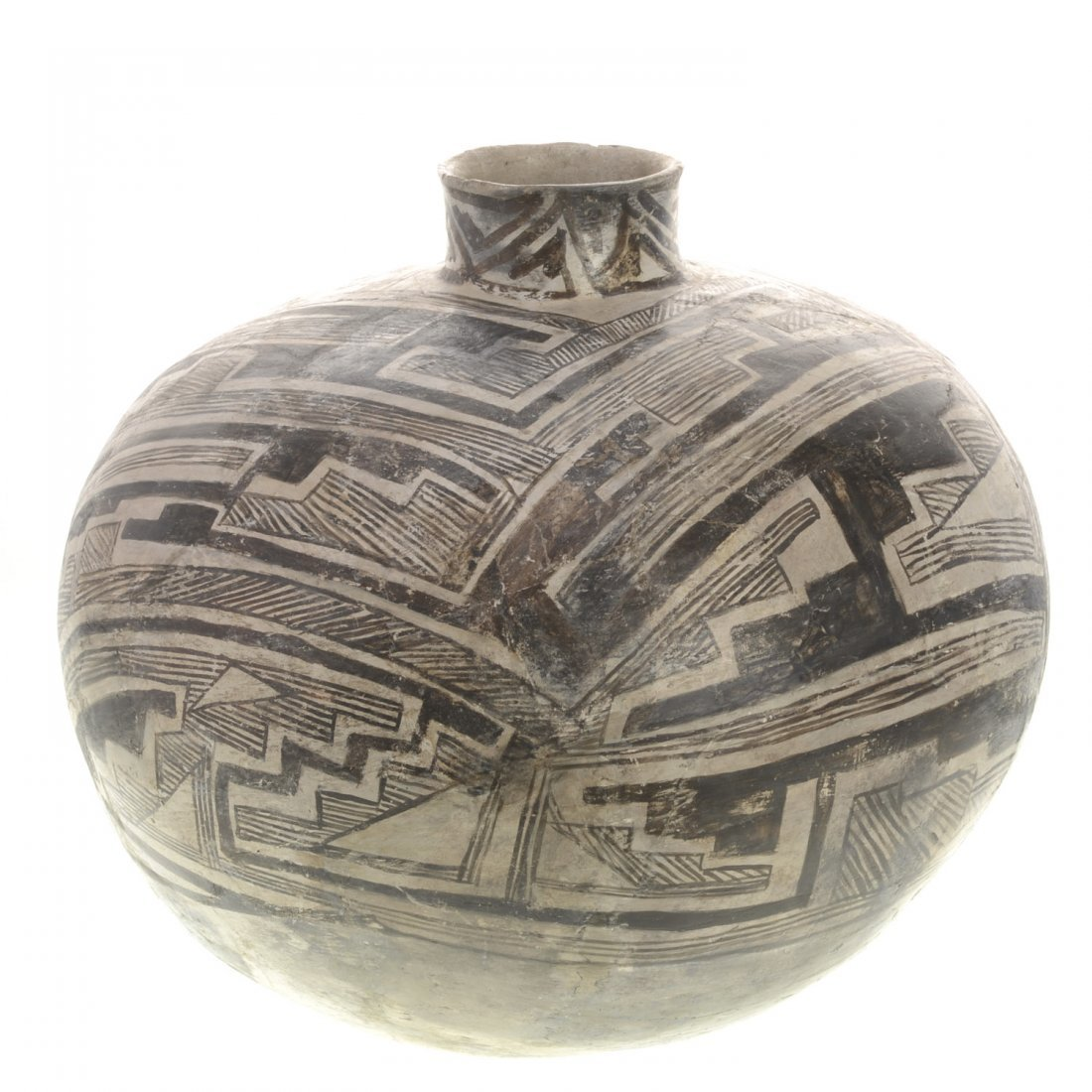 A Native American wide-bellied pottery vessel
