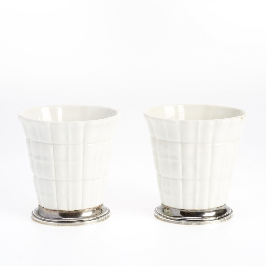 Pair Gio Ponti silver mounted ceramic vases