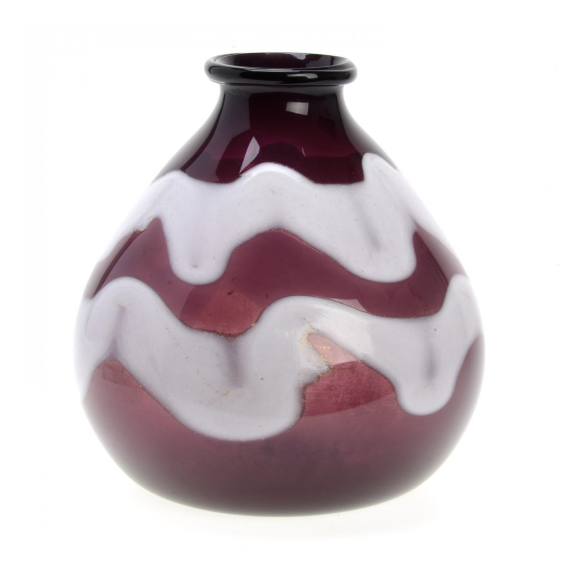 Napoleone Martinuzzi purple and white glass vase