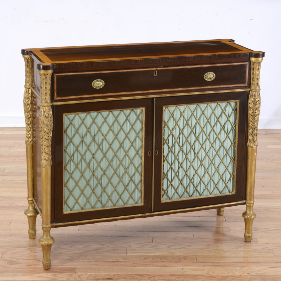 Nice George III parcel gilt rosewood side cabinet