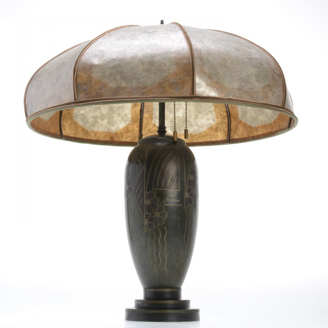 Art Deco patinated table lamp by A. Desgranges