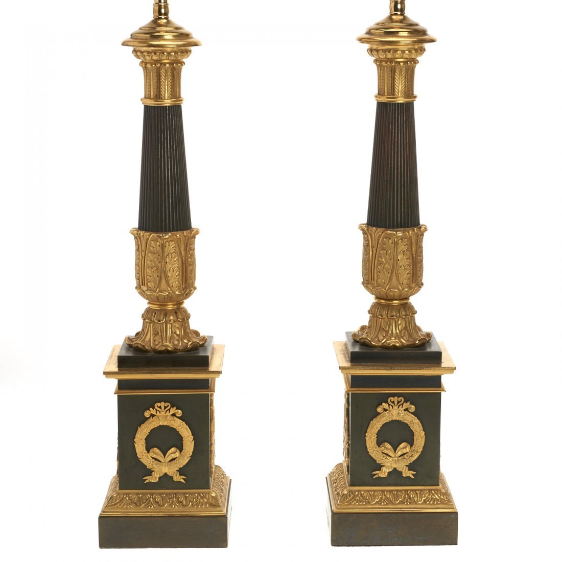 Pr Empire style gilt, patinated bronze table lamps
