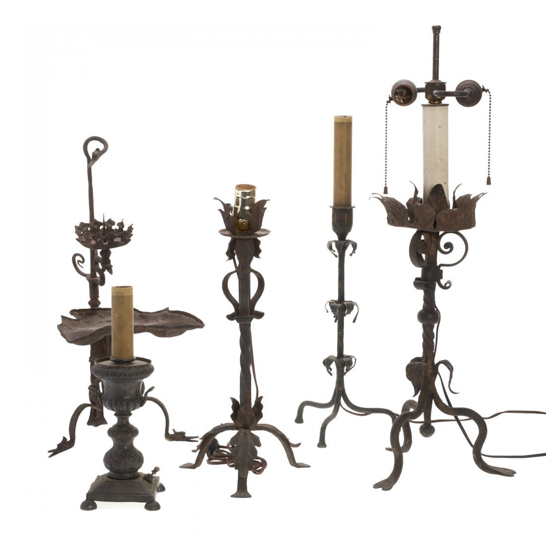 Group Continental Baroque metalwork table lighting