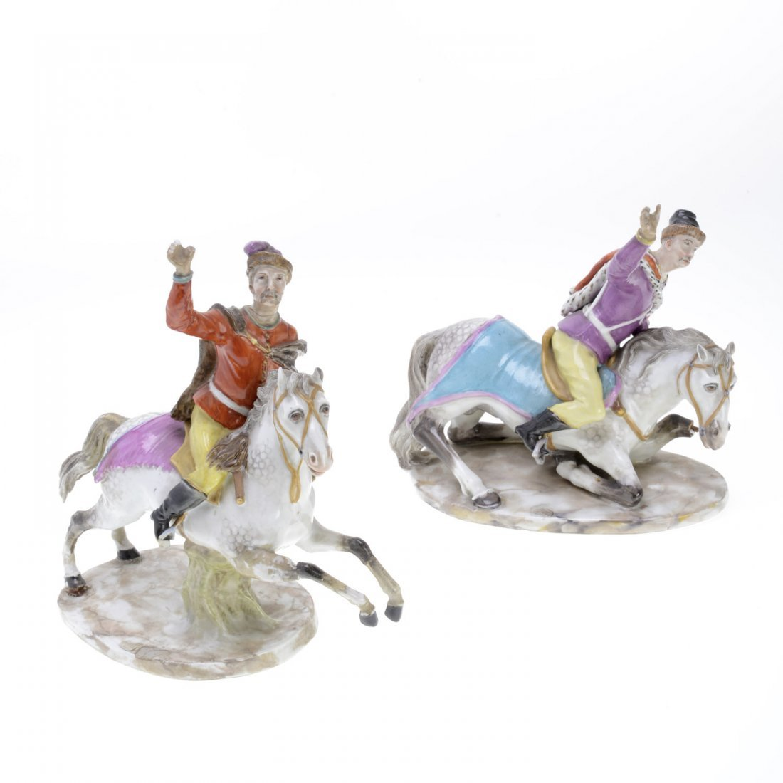 (2) Meissen porcelain Hussar soldiers on horseback