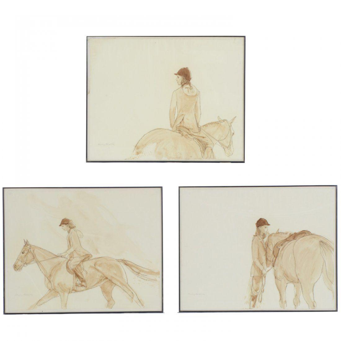 Henry Koehler, (3) watercolor paintings