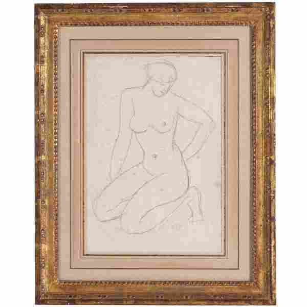 Aristide Maillol, figure study drawing