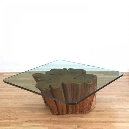 Redwood Tree Coffee Table: Nice Redwood Tree Trunk, Glass Coffee Table