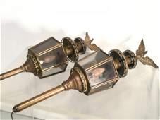 Pair old brass carriage lanterns
