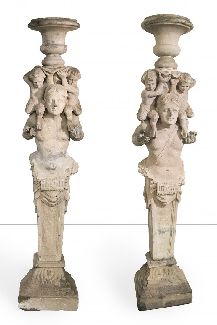 Pair large soft stone term figure planters