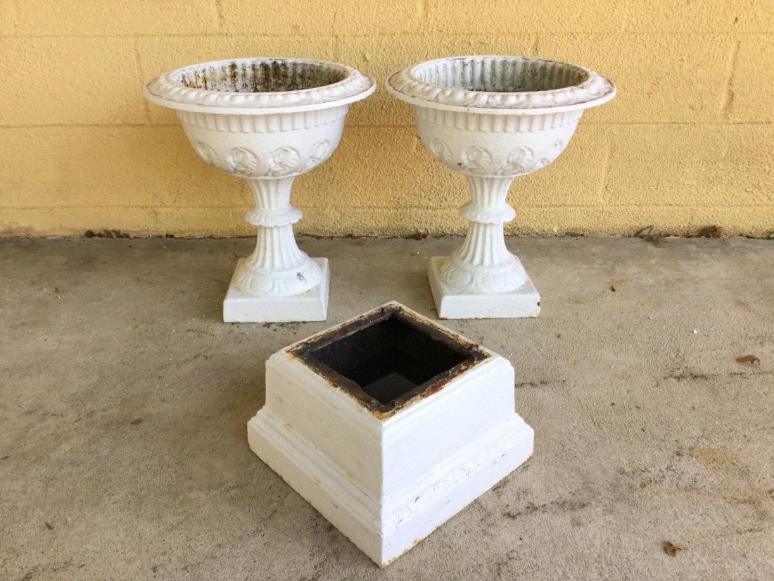 Pair Victorian cast iron planters and one base