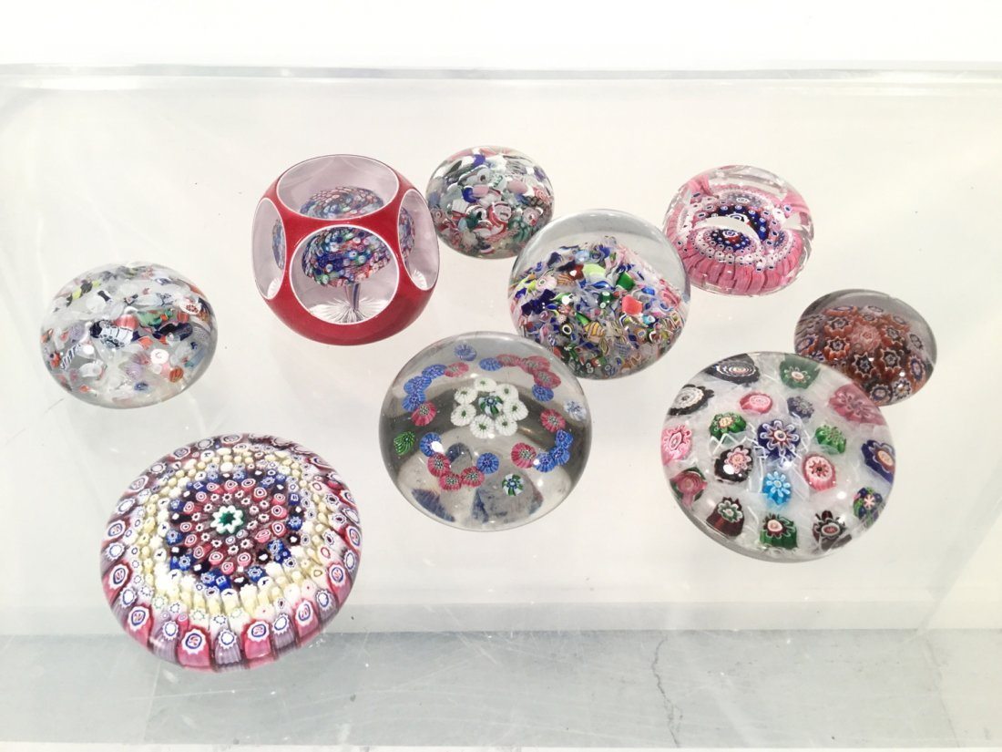 (9) Millefiori and Latticinio glass paperweights
