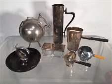 Group Modernist silver plated hollowware