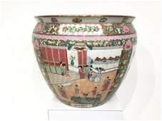 Chinese Export rose medallion porcelain fish bowl