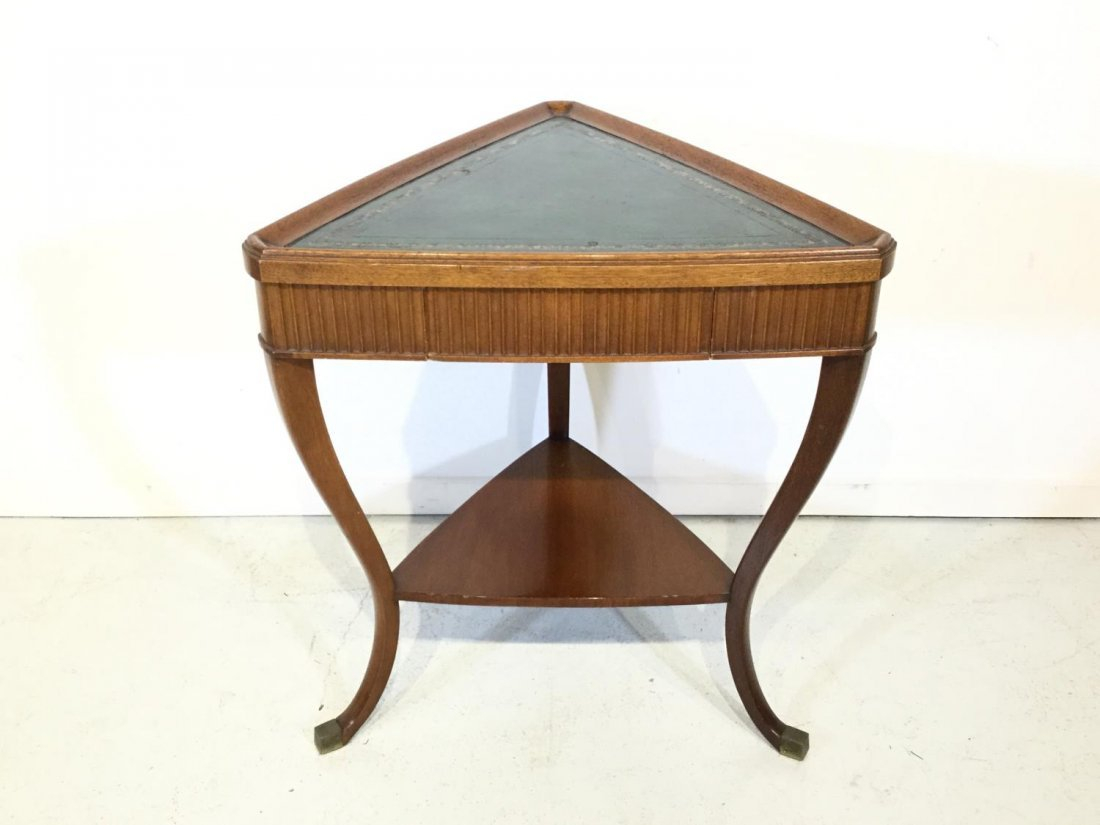 Parzinger style leather top occasional table