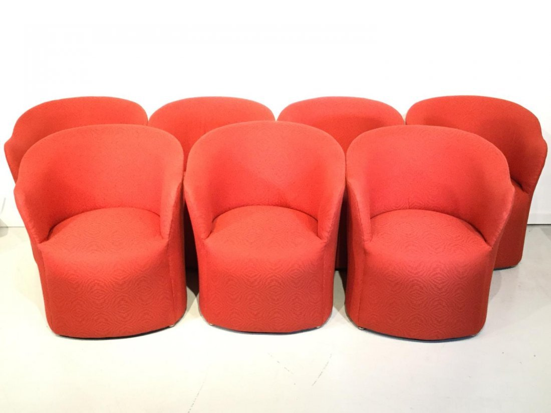 Set (7) Modernist red upholstered barrel chairs