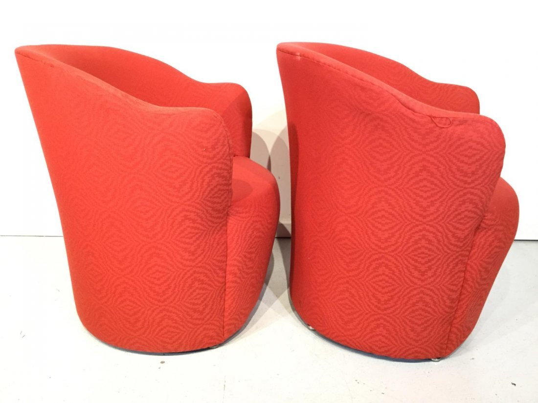 Set (7) Modernist red upholstered barrel chairs - 2