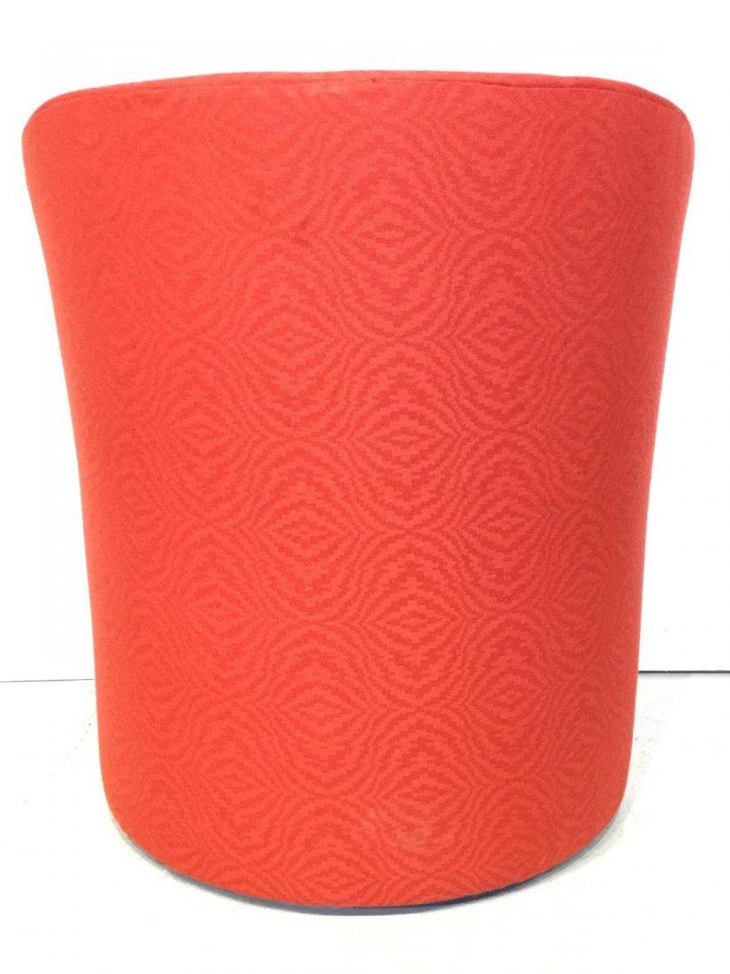 Set (7) Modernist red upholstered barrel chairs - 4