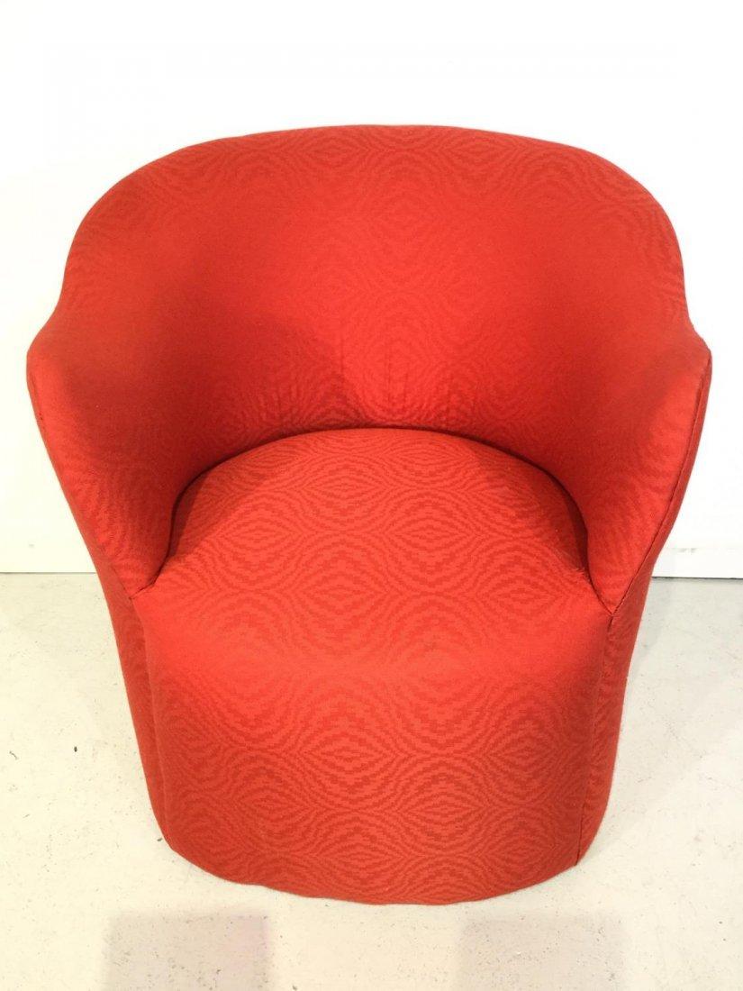 Set (7) Modernist red upholstered barrel chairs - 5